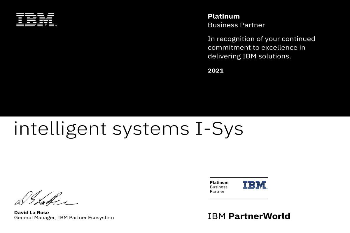 IBM Platinum Partner Certificate
